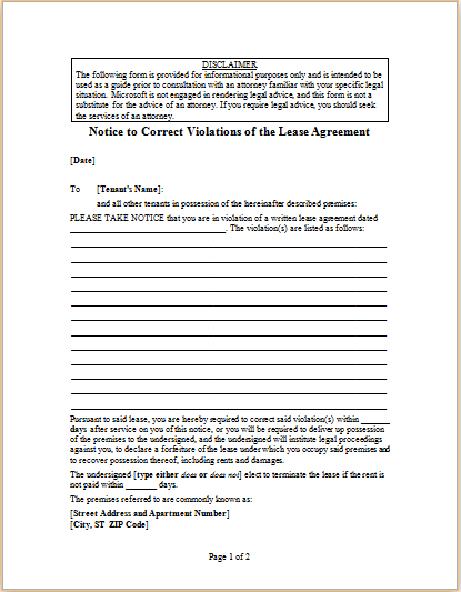 Letter to Correct Violations of the Lease Agreement