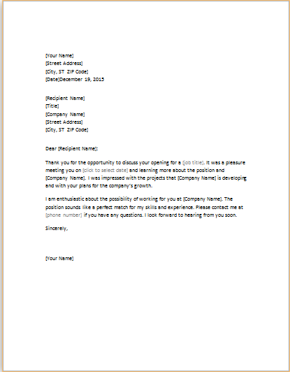 THANK YOU LETTER FOR JOB INTERVIEW word template – Interview Thank You Letters