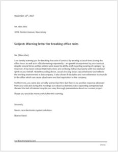 Warning Letter for Breaking Office Rules