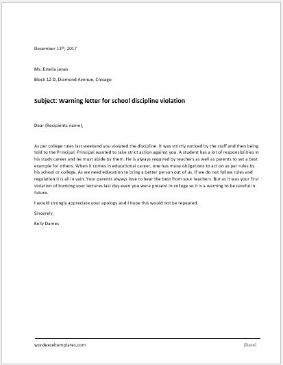 violation of discipline warning letter