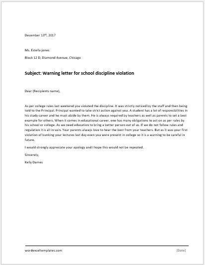 School Discipline Violation Warning Letter