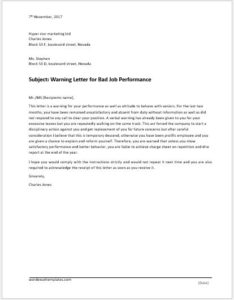 Warning letter for bad job performance