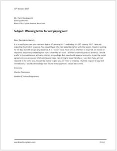 Warning-letter-for-not-paying-rent-233x300 Violation Warning Letter Template on violation ticket template, violation form template, safety meeting template, violation notification template,