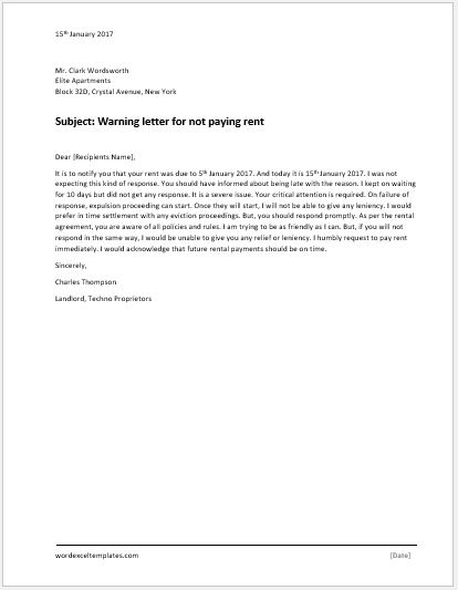Warning letter for not paying rent