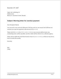 Warning letter for overdue payment