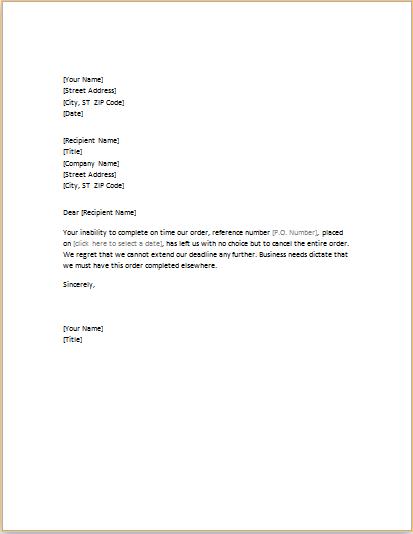 canceling order letter