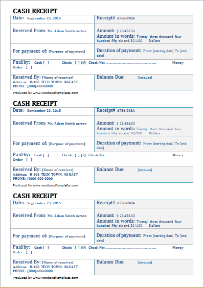 cash receipt template for word