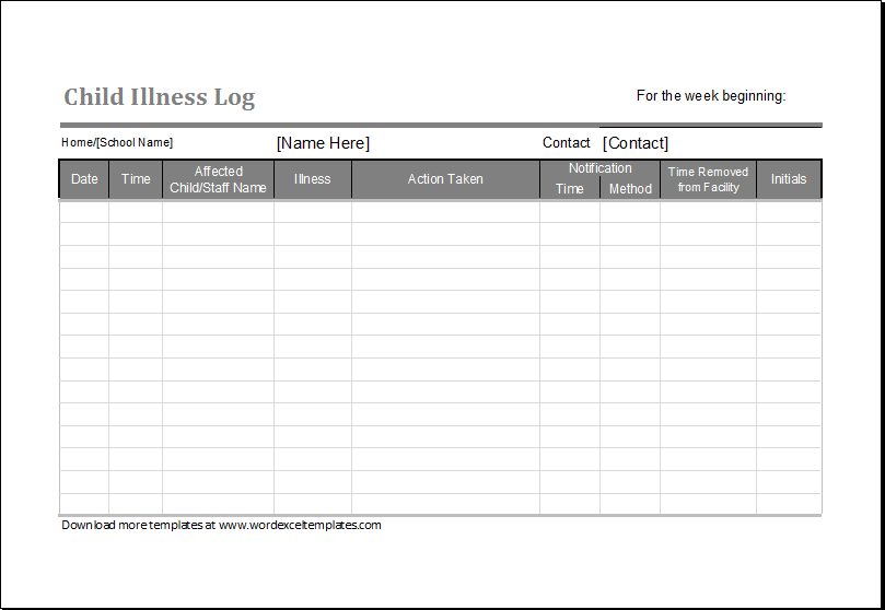 child illness log template  u2013 word  u0026 excel templates