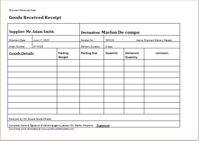delivery receipt sample excel  Delivery Receipt Template for Word | Word & Excel Templates