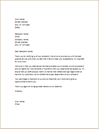 poor services apology letter