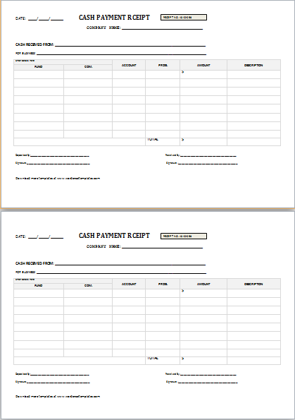 Cash Payment Receipt For Word Word Amp Excel Templates