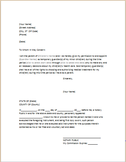 child care letter template