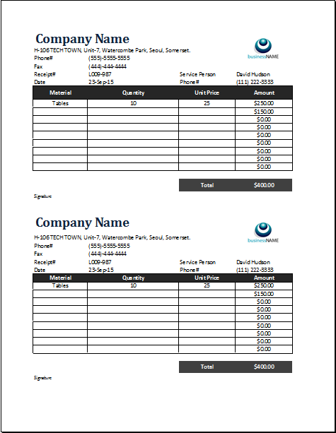 receipt of purchase template