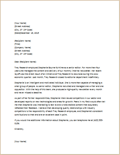 PROFESSIONAL EMPLOYEE REFERENCE LETTER word template Word