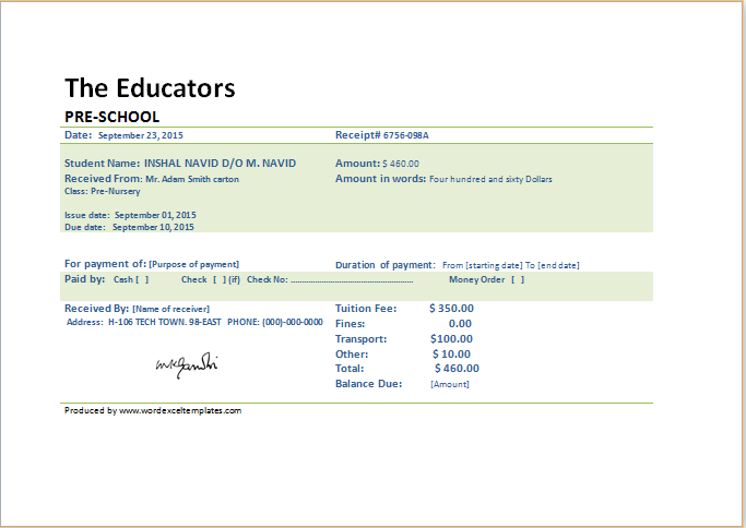 SCHOOL FEE PAYMENT RECEIPTS for MS Word & Excel | Word