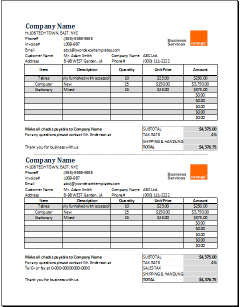 service receipt template for excel word excel templates