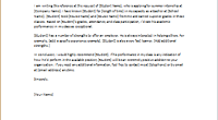 student reference letter