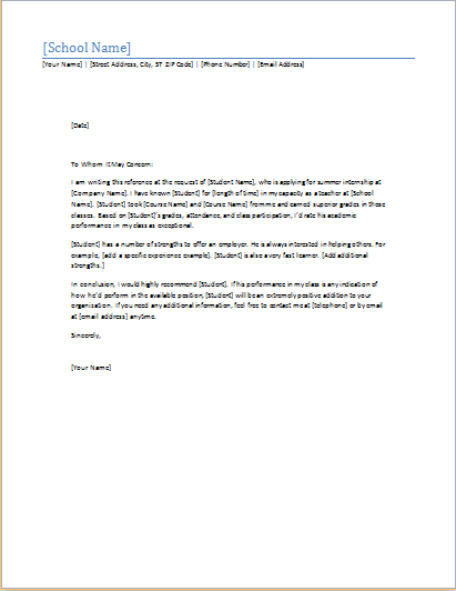 Student Reference Letter Word Template Word Amp Excel