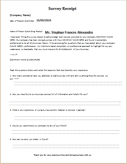 survey receipt template