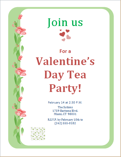 valentine s day tea party invitation template word excel templates