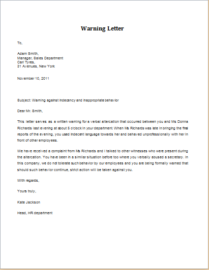 verbal altercation warning letter