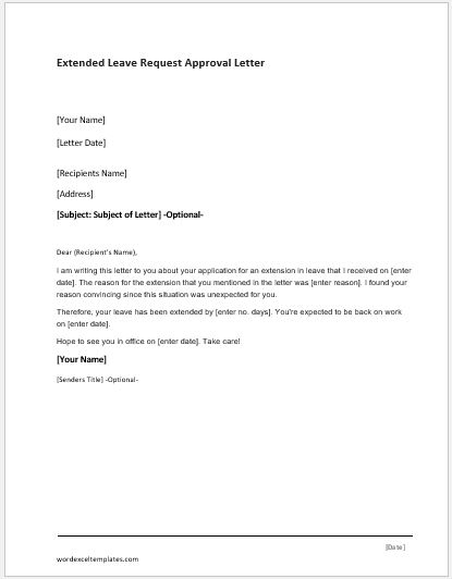 Extended-Leave-Request-Approval-Letter Template Approval Letters For Credit Cards on credit card dispute letter template, credit repair letter template, credit explanation letter template, credit reference letter template, letter of credit template, credit application template, medical approval letter template, credit authorization letter template,