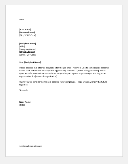 Job refusal letter due to personal reason