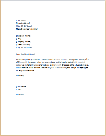Proatmealus  Pleasing Letter Correcting Invoice That Undercharged  Word Amp Excel Templates With Luxury Letter Correcting Invoice That Underchaged With Endearing Invoice Department Also Creative Invoice Designs In Addition Example Of Proforma Invoice And Free Download Invoice Software As Well As Gmc Invoice Pricing Additionally Invoice Letter Example From Wordexceltemplatescom With Proatmealus  Luxury Letter Correcting Invoice That Undercharged  Word Amp Excel Templates With Endearing Letter Correcting Invoice That Underchaged And Pleasing Invoice Department Also Creative Invoice Designs In Addition Example Of Proforma Invoice From Wordexceltemplatescom