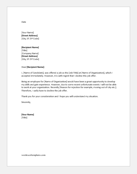 Letter declining a job offer after accepting it