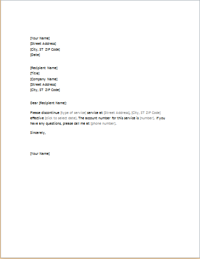 Letter requesting cancellation of services