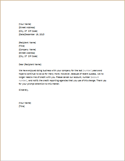 Letter requesting closure of credit account word excel for Account closure letter template