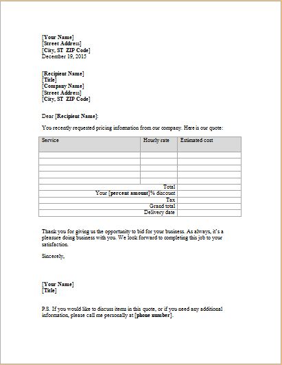 letter with service price quote for existing customer