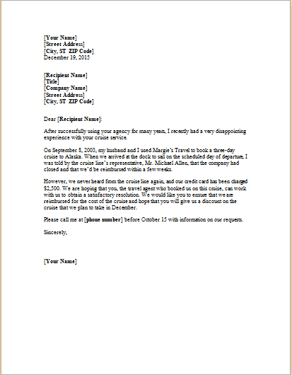 complaint letter about cancelled trip