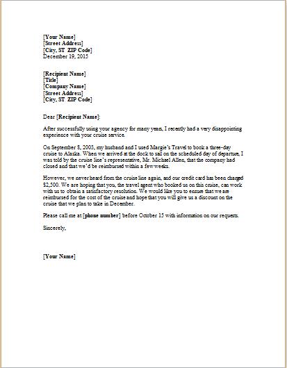 complaint letter about cancelled trip