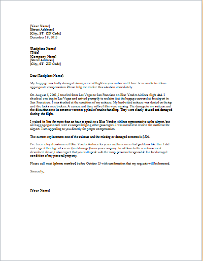 Complaint letter about damaged luggage word excel templates complaint letter about damaged luggage spiritdancerdesigns