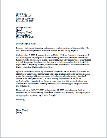 complaint letter about overbooked flight word amp excel