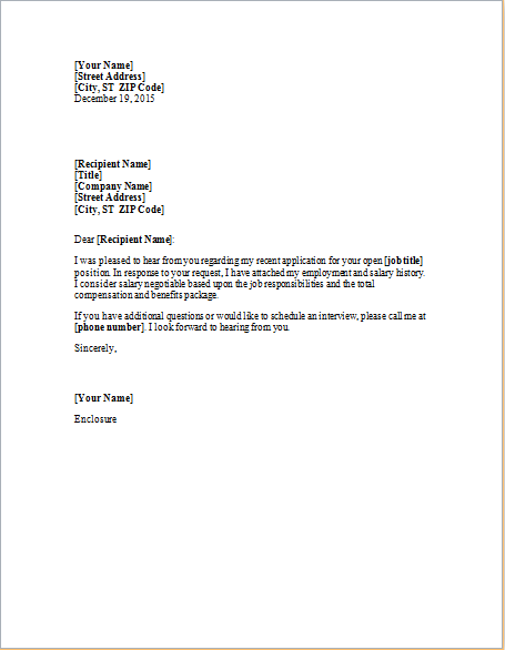 Cover Letter Enclosing Employment and Salary History | Word ...