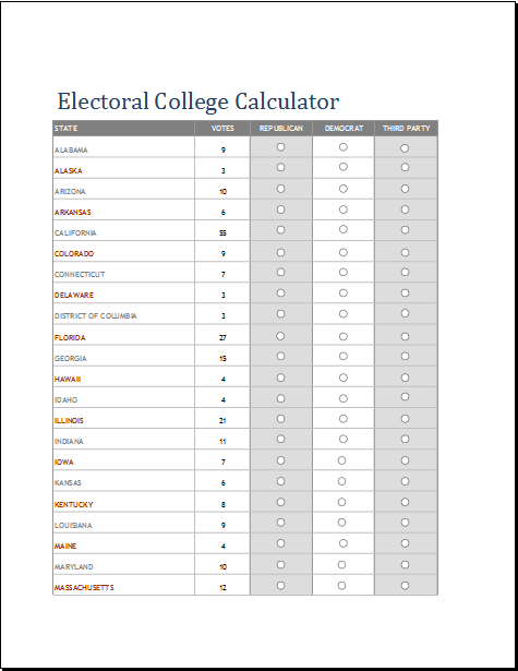 The electoral college worksheet answer key