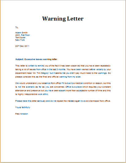 Warning letter for excessive leaves template word excel templates excessive leave warning letter altavistaventures Images