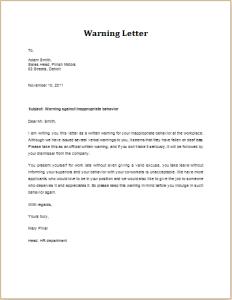 inappropriate behavior warning letter