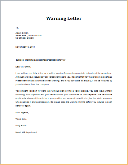 inappropriate behavior warning letter