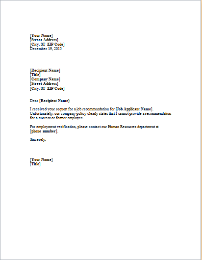 Job Refusal Letter Template for WORD – Refusal Letter