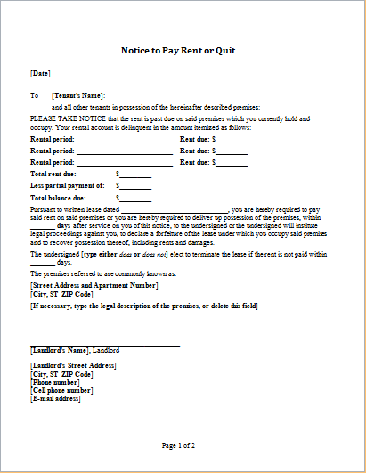 Notice to pay rent or quit template for word word for Notice to pay rent or quit template