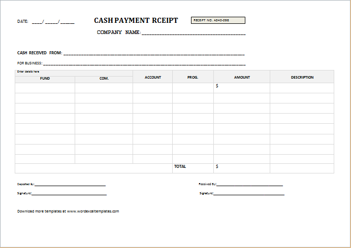Cash Payment Receipt Templates For Word Word Excel Templates