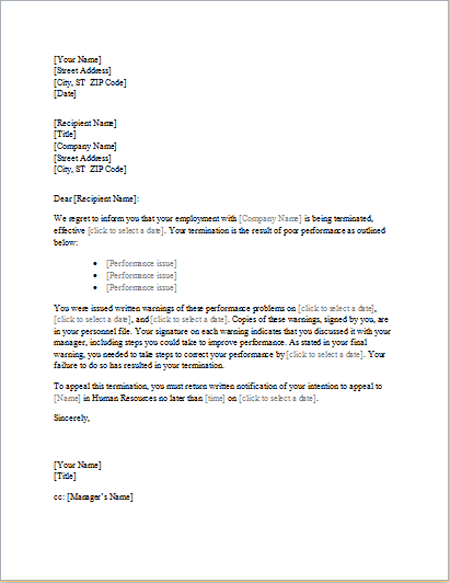 TraineeEmployee Termination Letter – Sample Employee Termination Letter
