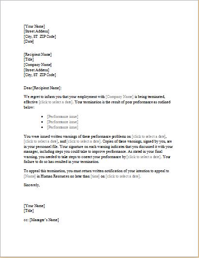 trainee employee termination letter