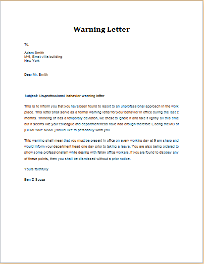 Warning Letter for Unprofessional Behavior | Word & Excel