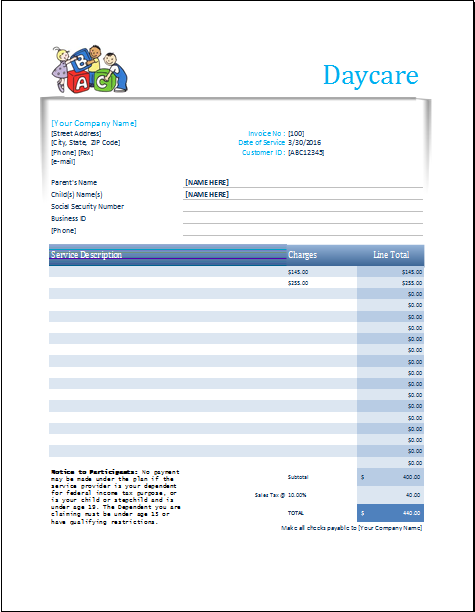 Daycare Receipt Excel Template | Word & Excel Templates