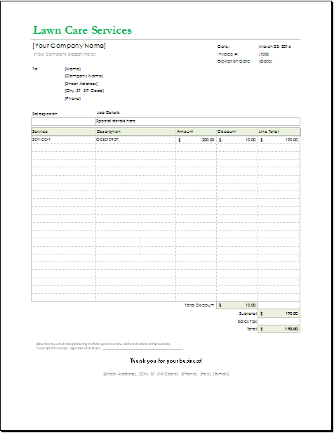 Lawn Care Receipt Template for EXCEL | Word & Excel Templates