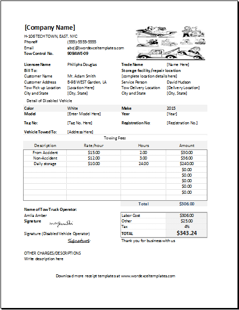 Towing Service Cost >> Towing Service Receipt Template For Excel Word Excel